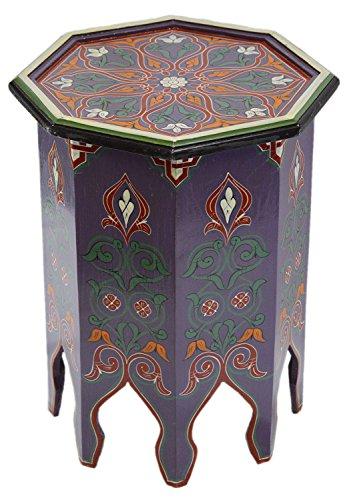 Moroccan Handmade Wood Table Side Moucharabi Delicate Hand Painted Purple ()