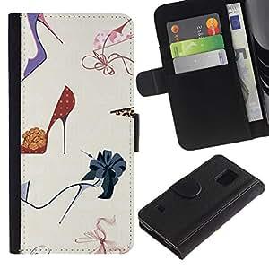 A-type (Stiletto Fashion Design Shoes Purple) Colorida Impresión Funda Cuero Monedero Caja Bolsa Cubierta Caja Piel Card Slots Para Samsung Galaxy S5 V SM-G900