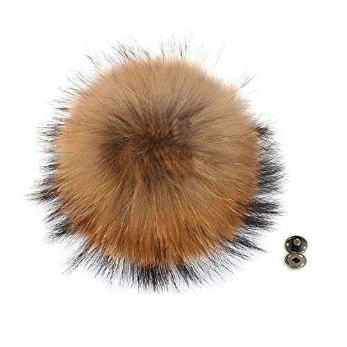 CANNI SHOP Raccoon Fur Ball Pom Poms with Press Button DIY Shoes Boots Knit Beanie Hats Accessories Handbag Charms (About 15cm, Natural Color)