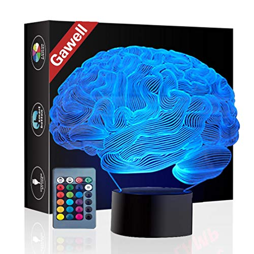Brain 3D Illusion Halloween Decorations Lamp Night Light, Gawell 16 Color Changing Table Desk Lamp Birthday Present with Acrylic Flat & ABS Base & USB Cable & Remote Control Toy -