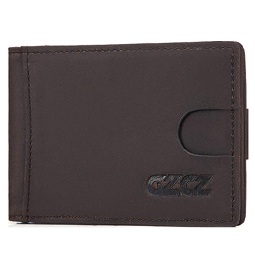 RFID anti-magnetic multi-function mens leather dollar clips first layer cowhide anti-magnetic wallet card sets