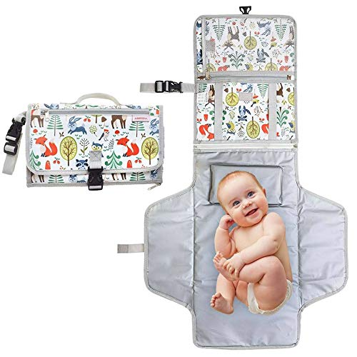 Amzia Portable Changing Pad - Detachable Unisex Waterproof Baby Changing Mat withPacifier Clip Included - Complete Portable Diaper Changing Station