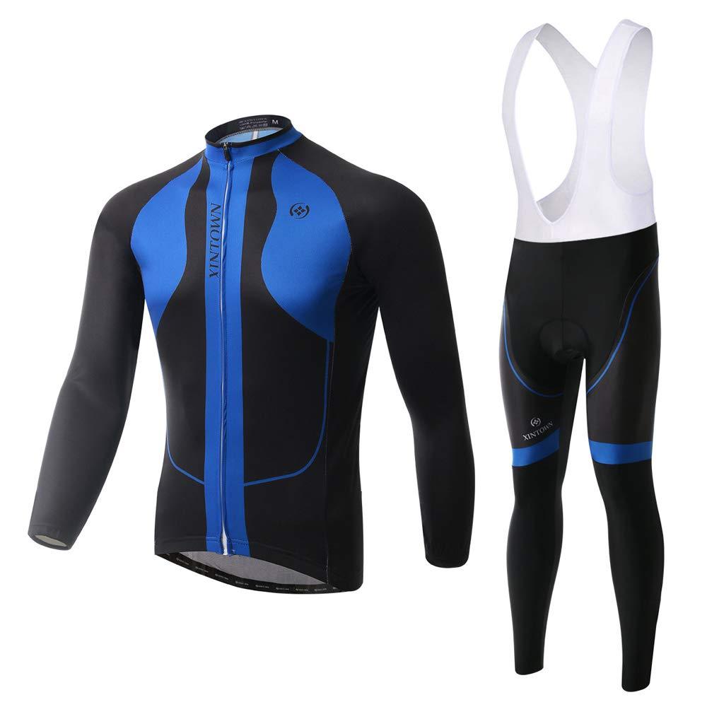 Pinjeer Einfachen Stil Blau und Schwarz Lange Radfahren Jersey Kleidung für Männer Frühling Herbst Atmungsaktive Outdoor Bike Riding Jersey Männer Langarm Bib Hosen Sets