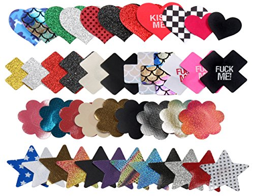 Pasties Set - Ypser 43 Pairs Multi Design Nipple Covers Disposable Pasty Satin Pasties for Women
