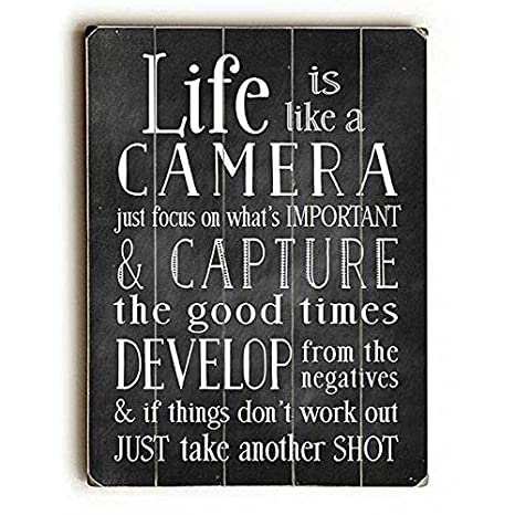 "Life Is Like A Camera by Artist Nancy Anderson 14/"" x 20/"" Planked Wood Sign"