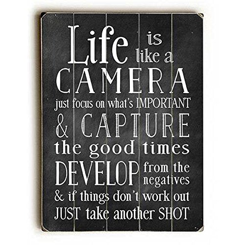 Planked Vintage Sign Wood - Life Is Like A Camera by Artist Nancy Anderson 12