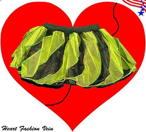 Lime Black Sequins Twister Two Tone Tutu Skirt Halloween Pumkin