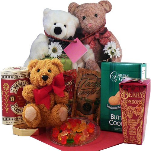 Art of Appreciation Gift Baskets  Bear Hugs Gift Bag Tote of Snacks with Plush Teddy Bear