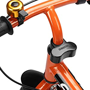 """Enkeeo 10"""" Balance Bike No Pedal Cycling Walking Bicycle with Bell and Hand Brake for Ages 2 to 5 Years Old, Adjustable Handlebar and Seat, 110lbs Capacity, Orange"""