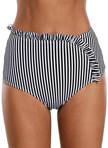 HOTAPEI Women Retro Full Coverage High Waist Swim Bikini Bottoms Black White Striped Asymmetric Ruffle Swimsuit Bottoms Tankini Bottoms US 14 16