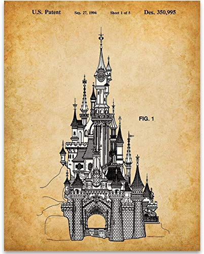Sleeping Beauty Castle Disneyland Paris Patent Print - 11x14 Unframed Patent Print - Great Gift Under $15 for Disney - Castle Sleeping Beauty