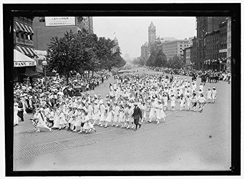 1916 Photo PREPAREDNESS PARADE. SCHOOLGIRLS Location: Washington D.C.
