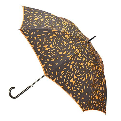 Butterfly Wing Design Black on Flame Red/Orange Umbrella w/Sleeve and Shoulder Strap