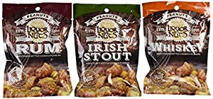 Assorted Liquor Gourmet Nuts Gift Box: Stout, Rum, and Whiskey-flavored Peanuts, Perfect as a Thank You Gift or for Any Occasion, Small-Batch Kettle Roasted for Superior Freshness