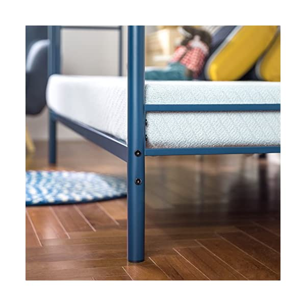 Zinus Easy Assembly Quick Lock Metal Bunk Bed Dual Ladders, Twin Over Twin, Blue 6