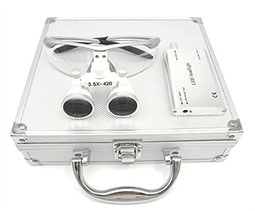 Aries Outlets YJ-0123467891012-l 3.5 x 420mm Working Distance Surgical Binocular Loupes Optical Glass with LED Head Light Lamp and Aluminum Box, Silver