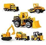 6 Set Construction Vehicle Cars Metal and Plastic,AEAVA Construction Trucks Excavator,Cement truck,Dumper,Tank Truck,Bulldozer,Forklift for Kids Age 3+