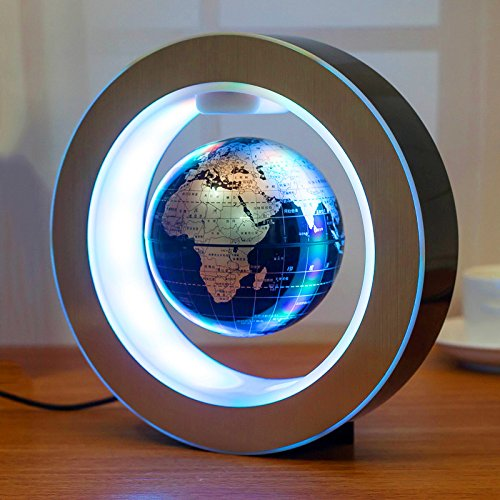 Genmine Magnetic Levitating Globe, 4'' Magnetic Floating Globe with Led Lights High Rotation LED Light Anti Gravity Globe Round Shape Decoration for Home (US Plug) (High Tech Toys)