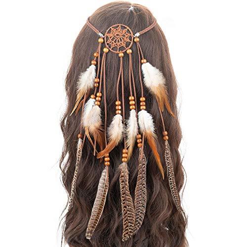 Hippie Indian Headband Feather Dreamcatcher Headdress, Tassel Festivals Peacock Feather Bridal Weddings Headwear Princess Bohomia Crown Fancy Headpieces For Women Girls Hair Accessories (Brown 1)