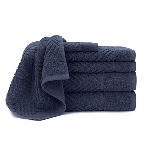 (Briarwood Home Elegant Hotel & Spa Quality Bath Towels - 100% Cotton Jacquard Bars Design, Quick Dry Towels 6 Piece Towel Set - 2 Luxury Bath Towels, 2 Hand & Gym Towels and 2 Washcloths (Mood Indigo))