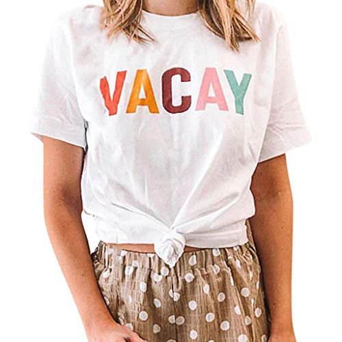 Fastbot women's Big Sale Round Neck Short Sleeve Top Vacay Letter Print Wild T-Shirt White (Best Labor Day Weekend Sales)