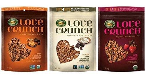 Love Crunch Premium Organic Granola Chocolate Lovers 3 Flavor Variety Bundle: (1) Dark Chocolate & Red Berries, (1) Dark Chocolate & Peanut Butter, & (1) Dark Chocolate Macaroon, 11.5 Oz Ea (3 Bags)