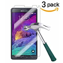 Galaxy Note 4 Screen Protector,TANTEK [Bubble-Free][HD-Clear][Anti-Scratch][Anti-Glare][Anti-Fingerprint] Premium Tempered Glass Screen Protector for Samsung Galaxy Note 4,[Lifetime Warranty]-[3Pack]