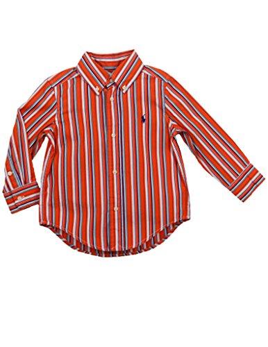 Shirt Vertical Stripe Woven (Ralph Lauren Toddler Boys Woven Vertical Stripe Poplin Button Down 2T Orange Multicolored)