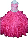 MCandy Big Girls' Ruffled Jewel Ball Gowns Gifts Pageant Dress 16 US Hot Pink