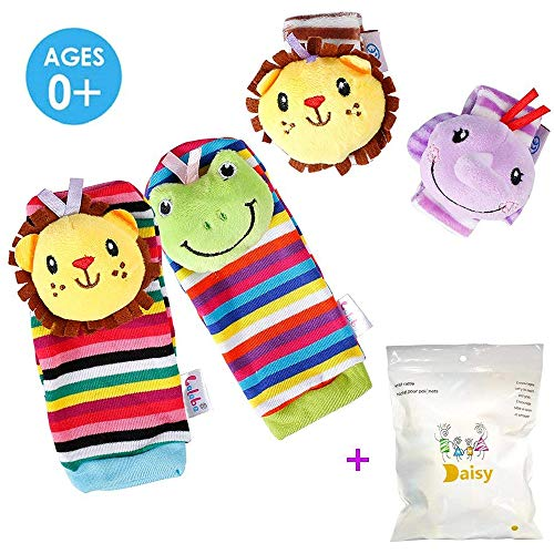 daisy's dream 4 Packs Baby Wrist Rattles and Foot Finder Socks Toys Set, Animal Soft Educational Development Toy (Lion & Elephant)