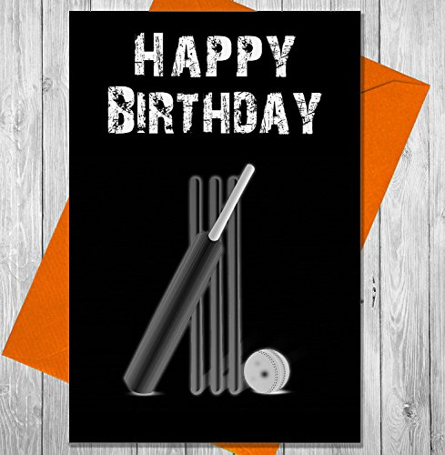 AKGifts Birthday Card Cricket Bat And Stumps - Unique Chalkboard Effect Greeting Card - Stump Card Game