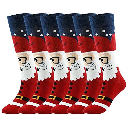 Below Knee High Socks, Gmall Casual Cotton Fashion Funky Design Socks, 6 Pairs Christmas Mens Fashion