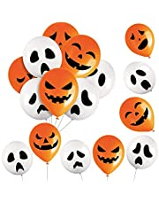96 Pieces Halloween Ghost and Pumpkin Balloons Ghost and Pumpkin Latex Balloons Halloween Ghost Balloons Halloween Pumpkin Balloons for Indoor Outdoor Party Decoration Supplies, 8 Styles