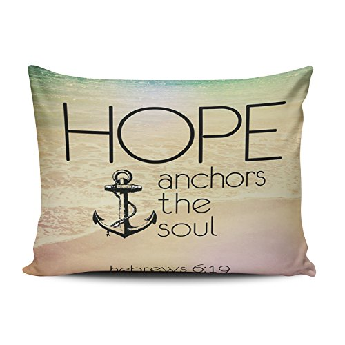 KEIBIKE Pillow Case Christian Religious Bible Verse Inspirational Quotes Hebrews 6:19 Hope Anchor the Soul Personalized Rectangle Pillowcases Decorative Throw Pillow Covers Cases Queen 20x30 Inches by KEIBIKE