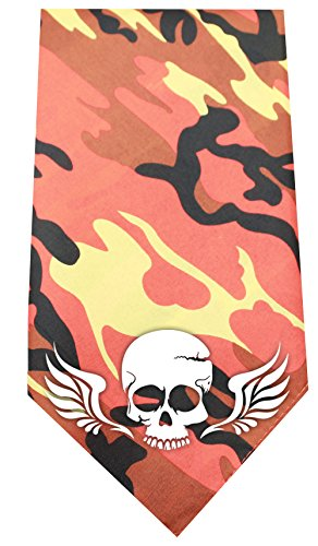 Mirage Pet Products Skull Wings Screen Print Bandana, Standard, Orange (Orange Standard Wing)