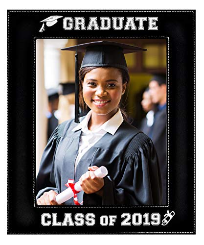 GIFT FOR GRADUATE / GRADUATION ~ Class of 2019 Picture Frame ~ Engraved Leatherette Graduation Picture Frame Elegant Black Frame Engraves in Silver Beautiful Display for Special Graduate (8x10-2019)