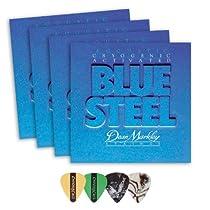 Dean Markley 2034 Blue Steel LT Acoustic Guitar Strings 4-Pack (0.11-.052) Includes Guitar Picks