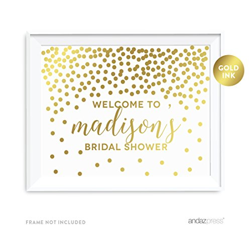Andaz Press Personalized Wedding Party Signs, Metallic Gold Confetti Polka Dots, 8.5x11-inch Wall Art, Poster, Gift, Welcome to Madison