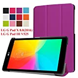 LG G Pad X 8.0 Case, Asstar Ultra Slim Premium PU Leather Stand Frost Back Smart Case Cover For 8-Inch LG G Pad X 8.0 Tablet (T-Mobile V521WG) / G Pad III 8.0 V525 2016 Released (Purple)