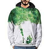 Men's T-Shirts Clearance WEUIE Mens 3D Printed Graffiti Pullover Long Sleeve Hooded Sweatshirt Tops Blouse (L, White )
