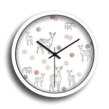 Komo silencioso Moderno Decoración Adorno para Hogar Reloj de Pared Sala Creative Habitaciones Son Modernas y con Estilo Reloj de Cuarzo de Metal E: ...