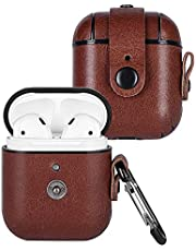 Wilken Apple AirPod Case with AirPod Cleaning Kit | Top Grain Leather Wrapped AirPod Case with Snap Closure System