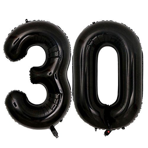 40inch jumbo 30 Black number balloons for 30th Birthday Party Decoration Perfect 30 Years Party Supplies use them as Props for Photos (Black (30th Birthday Balloon)