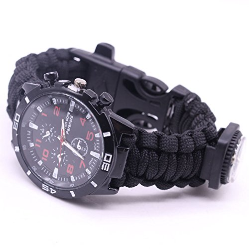 BIBU Survival Survival Bracelet Watch, Survival Kits Tools with Rope, Whistle, Compass, Fire Starter, Emergency Knife, Watch for Outdoor Hiking Camping Hunting - Knife Watch