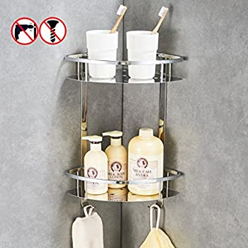 BESy Shower Corner Caddy Bathroom Shelf Floating , No Drilling With Glue Or  Wall Mounted With