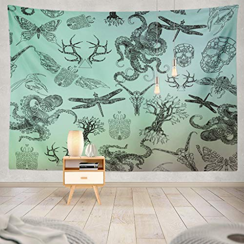 (ASOCO Octopus Tapestry, Tapestry Wall Hanging Abstract Gothic Line Octopus Skull Dragonfly Antlers Beetle Tree Wall Tapestry for Bedroom Living Room Tablecloth Dorm 80