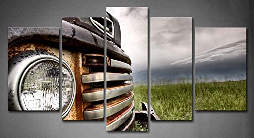 5 Panel Wall Art Old Vintage Truck On The Prairie Painting Pictures Print On Canvas Car The Picture For Home Modern Decoration piece (Stretched By Wooden Frame,Ready To Hang)