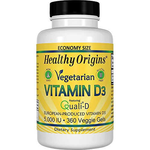 Healthy Origins Vegetarian Vitamin D3 5,000 IU (from Quali-D European Vitamin D3), 360 Veggie Gels