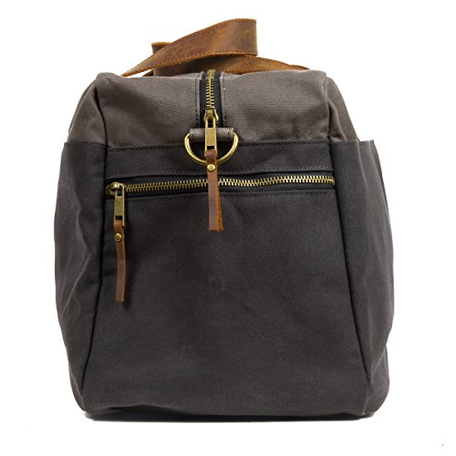 Waxed Cotton Canvas Duffel Bag with Leather Handles | the Whitman Weekender Duffel by FAT FELT by FAT FELT (Image #2)