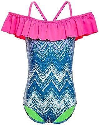 Ruffle Shoulder Stripe Bathing Suit iDrawl One Piece Swimwear for Girls